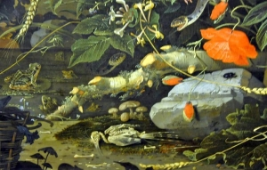 Composition of flowers, less obvious style of Vanitas by Abraham Mignon in the National Museum in Warsaw. Barely visible amid vivid and perilous nature (snakes, poisonous mushrooms) a sole bird skeleton is a symbol of vanity and shortness of life.