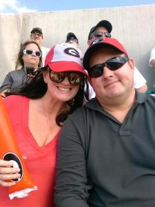 me and Husband at the game DAWGS WON woo hoo!  45-31 (or something like that)